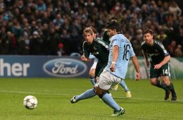 City striker Aguero scores from the penalty spot to level things up in the second half