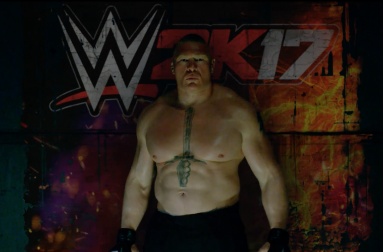 Brock Lesnar stands in-front of the WWE 2K17 logo.