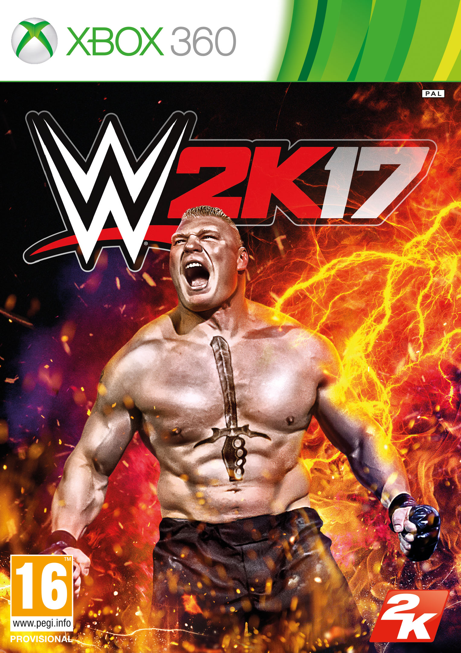 WWE 2K17 Xbox 360 cover featuring Brock Lesnar