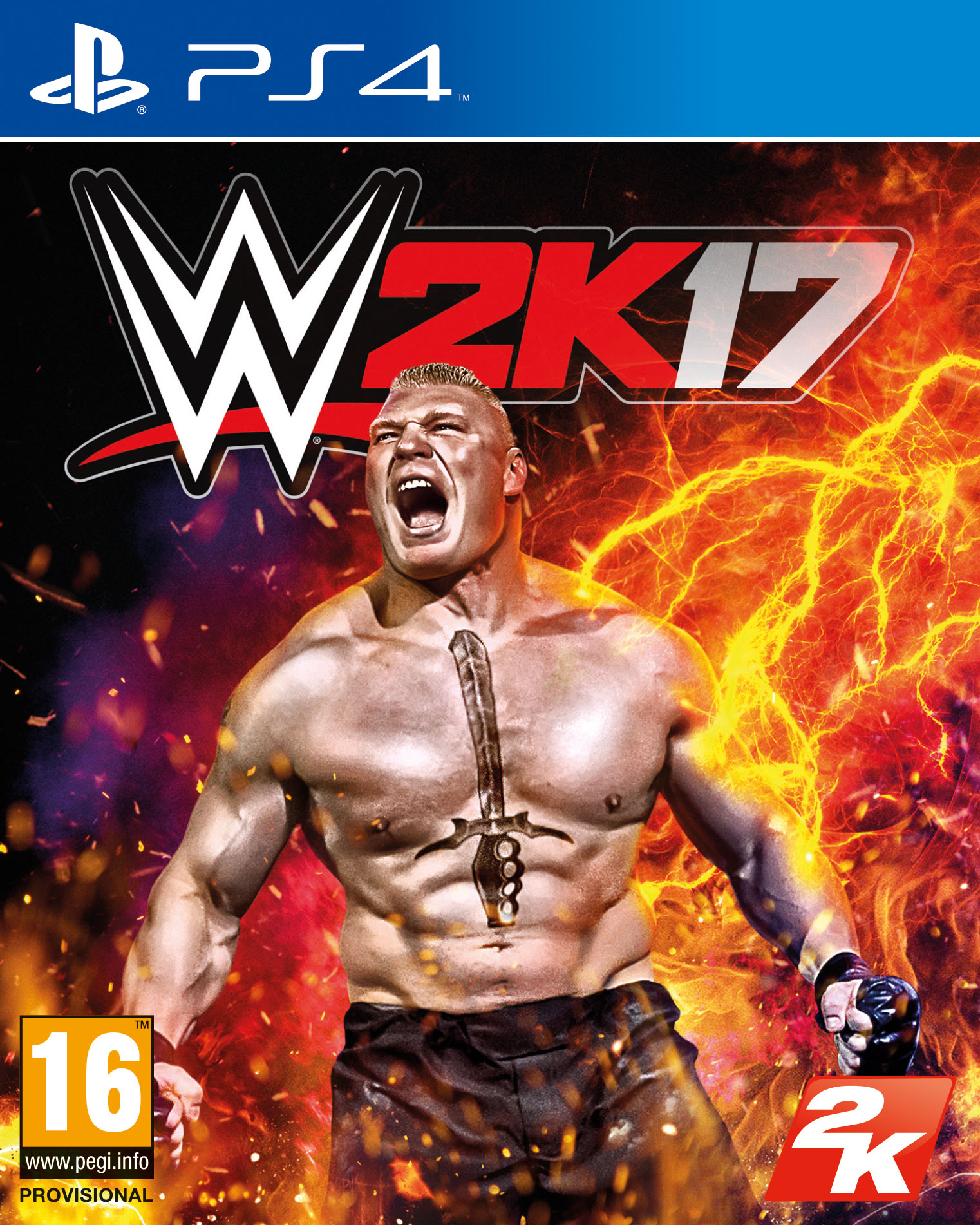 WWE 2K17 PS4 cover featuring Brock Lesnar