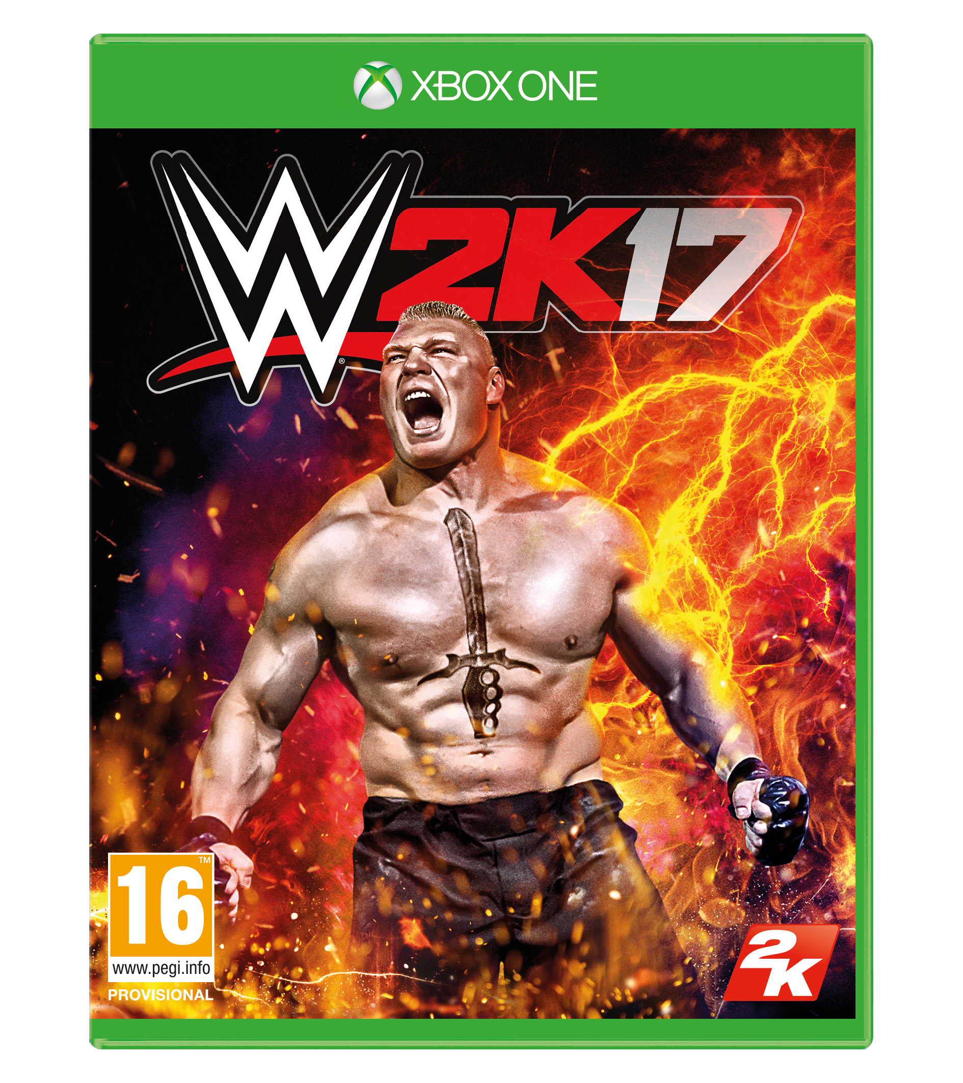 WWE 2K17 Xbox One cover featuring Brock Lesnar